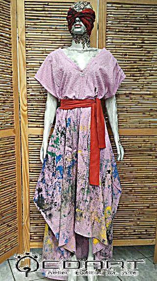 Vestido bordado algodão tingimento manual pintado a mão faixa algodão acetinado