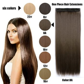 61 Centímetros 120 Gramas 1 peça Mega Hair Tic Tac Cabelo Sintético Liso Castanhos Claros/Médios //Price: $68.97 & FREE Shipping