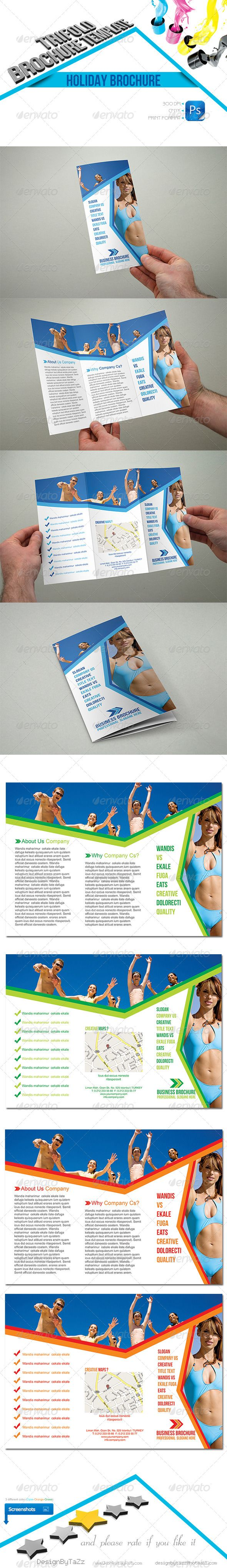 Holiday Trifold Template  #GraphicRiver         Holiday Trifold Template   Fully layered PSD 300 Dpi, CMYK Size: A4 Completely editable, print ready All Image are in vector format, so can customise easily Photos are not included in the file Help.txt file   Font: Bebas Neue ( .dafont /bebas-neue.font) Arial   Holiday Business Roll-Up: graphicriver /item/holiday-business-rollup/4473146?WT.ac=portfolio&WT.seg_1=portfolio&WT.z_author=DesignByTaZz&ref=DesignByTaZz   Flyer: graphicriver…