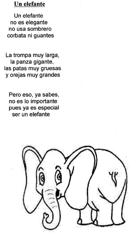 Un elefante poes as y actividades infantil pinterest for Canciones para el jardin