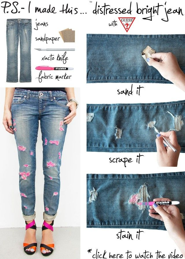 Distressed Jeans: already used this basic technique to create distressed boyfriend jeans out of flared thrift store jeans. Next I will try it with darker jeans to get a different style. Tip: use a seam ripper rather than an exacto knife for a better look (also, much easier to poke, pick threads, etc.)
