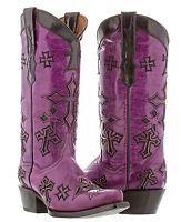 Womens Purple Leather Western Cowboy Cowgirl Boots Cross Rocker Rodeo Biker New