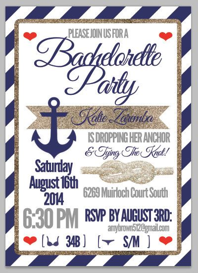 Bachelorette Party Invitation - Nautical Navy and Gold Sparkle! on Etsy, $1.25