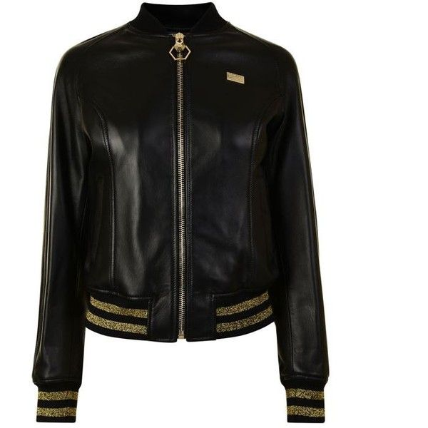Philipp Plein Tiger Leather Bomber Jacket ($5,370) ❤ liked on Polyvore featuring outerwear, jackets, leather bomber jacket, philipp plein jacket, embellished bomber jacket, blouson jacket and leather flight jacket