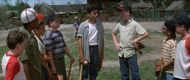 The Sandlot Kids--(left to right)-- Tommy 'Repeat' Timmons, Kenny 'Nunez', Alan 'Yeah Yeah' McClennan, Hamilton 'Ham' Porter, Scotty 'Smalls', Benjamin 'Benny' Franklin Rodriguez, Bertram 'Weeks', Michael 'Squints' Palledorous, and Timmy Timmons