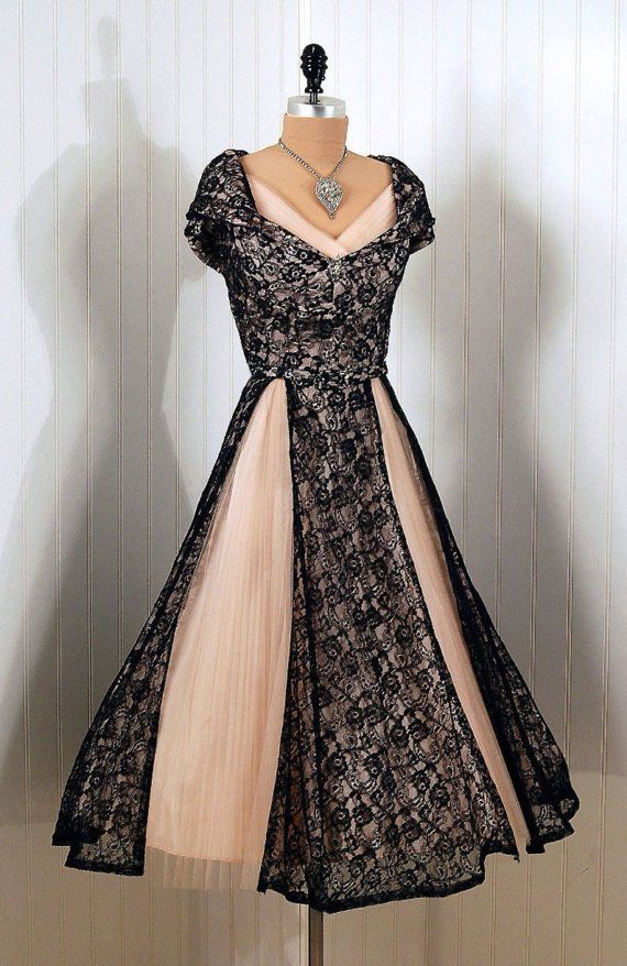Peach Dress with Black Lace