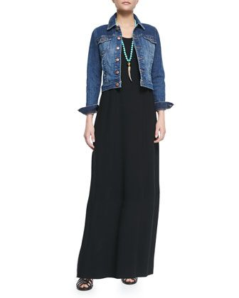 Denim+Cropped+Jacket+&+Floor-Length+Jersey+Dress+by+Eileen+Fisher+at+Neiman+Marcus.