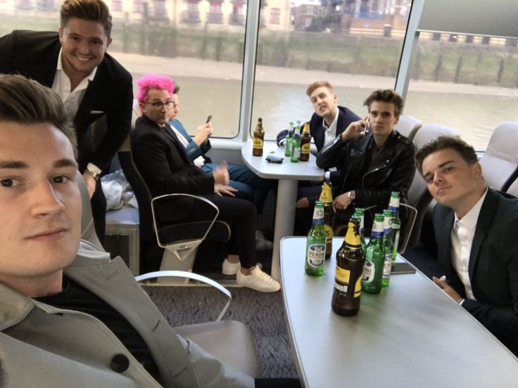 Oli, Jack, Mikey, Joe, Grant, Josh, and Conor on the way to the Laid In America premiere