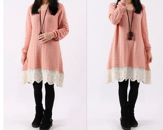 women Sweater dress knitwear sweater cotton dress by cottondress23