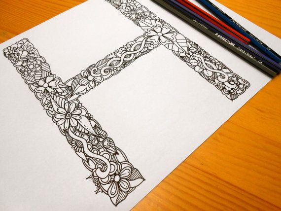 Letter H Colouring page Decoration by GardenDoodles on Etsy