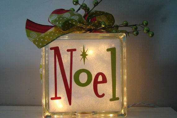 Noel Glass Block Light Christmas Holidays with by VinylSigns4him, $25.00