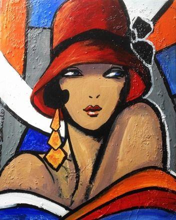 Portrait expressionniste, peinture unique & originale sur toile 41x33 style art déco*So cold without you...* : Peintures par la-perruche-de...