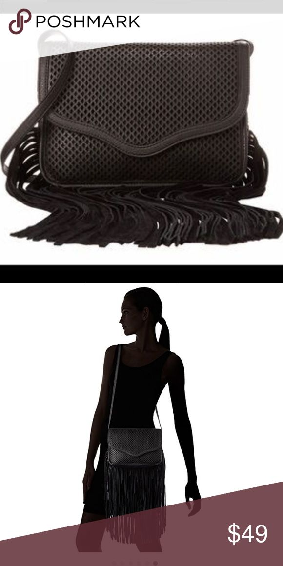 BCB. Fringe cross-body on Sale! Medium size bag with diamond mesh pattern. Fringes made of real suede material. Price is firm. BCBGeneration Bags Crossbody Bags