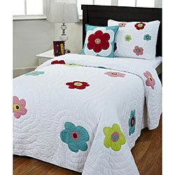This lovely handmade quilt set is full of fun flower power. This bedding set features bright, colorful flowers on a beautiful white background and comes complete with a sham and decorative pillow. Det
