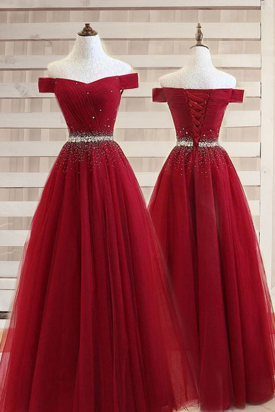 A-line Off The Shoulder Burgundy Tulle Prom Dress With Beading PG737