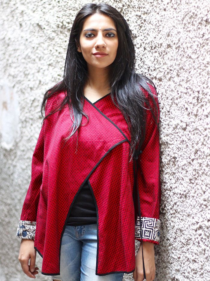 Red Black Cotton Angrakha Jacket