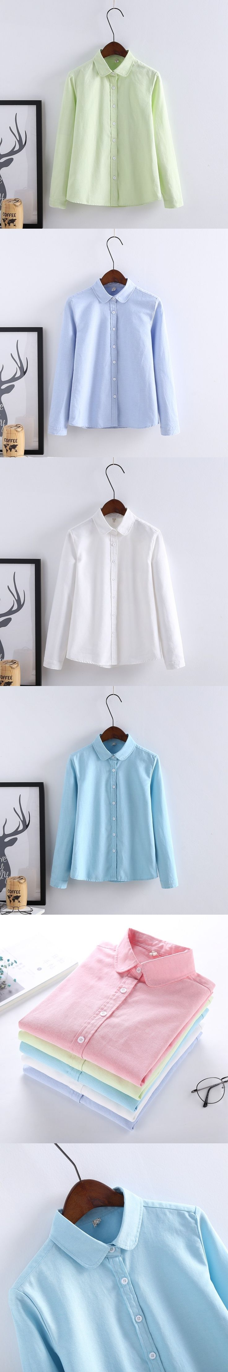Women Blouse 2017 New Casual BRAND Long Sleeved Cotton Oxford White Shirt Woman Office Shirts Excellent Quality Blusas Lady
