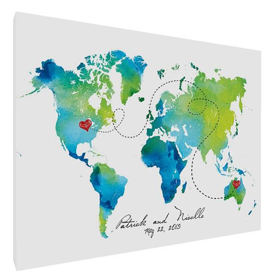 Map Canvas Print, Personalized , Custom Canvas Print, World Map, Map on Canvas, Wedding, Anniversary, Gift, Guest Book, Housewarming