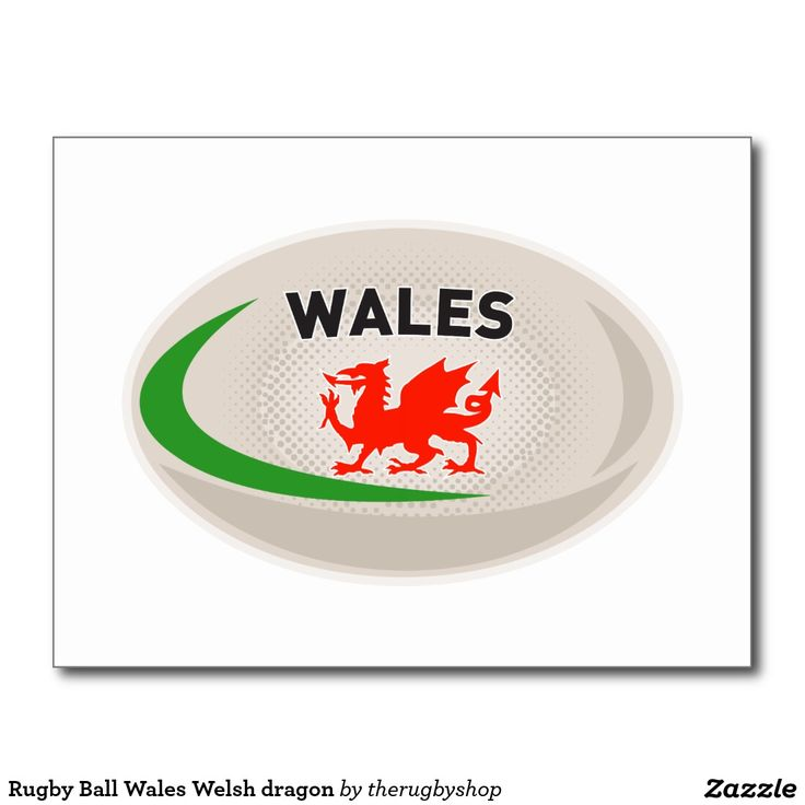 Rugby Ball Wales Welsh dragon Postcard