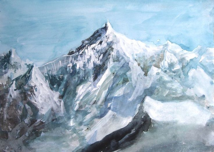 snowy mountain landscape painting. will elliston snowy mountain impressionist original painting a4 signed art landscape painting r