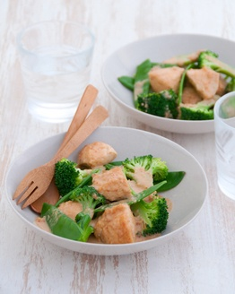 Penang Chicken, from Michelle Bridges 12 wbt  1 tablespoon red curry paste 600 g (21 oz) chicken breast fillets, cut into strips 400 ml can Light & Creamy Coconut flavoured evaporated milk 2 teaspoons fish sauce 2 tablespoons brown sugar 2 tablespoons crunchy peanut butter 250 g (8.8 oz) broccoli, cut into florets 150 g (5.2 oz) snow peas, trimmed