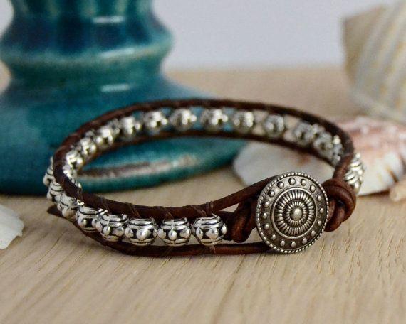 Metal bead bracelet. Rustic leather wrap bracelet -Made to order-