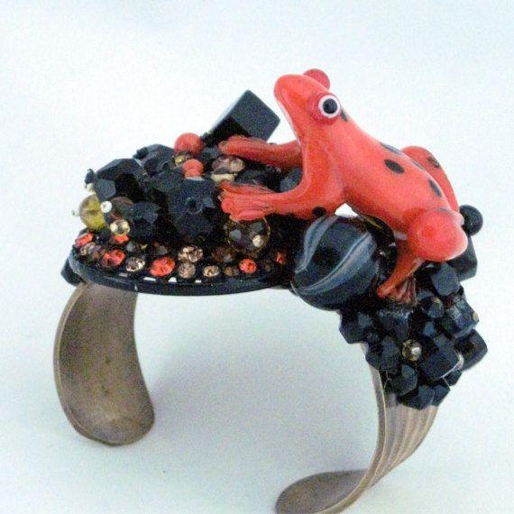 Glass Frog Rhinestone Cuff Bracelet Orange Black by EyeImpact