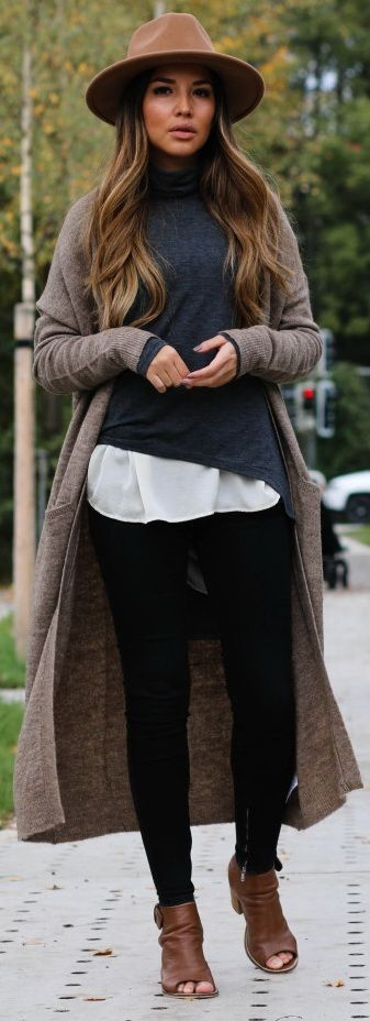 #winter #fashion / oversized cardigan + knit  Charcoal grey, black, white, taupe and chestnut brown