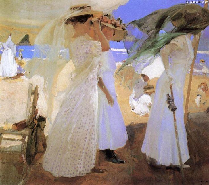 Beneath the Canopy, Oil by Joaquin Sorolla Y Bastida (1863-1923, Spain)
