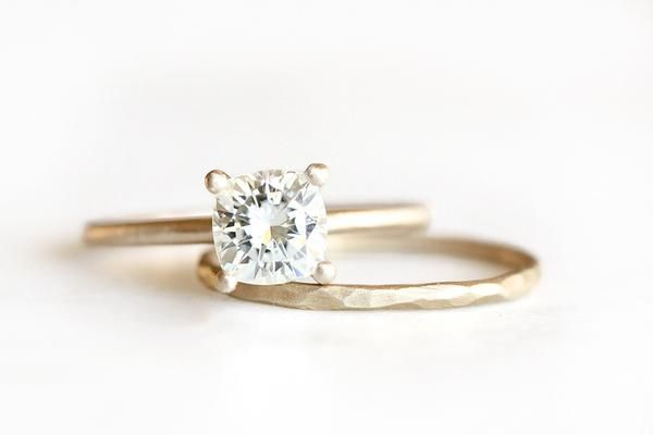 14k cushion moissanite engagement ring | Andrea Bonelli Jewelry