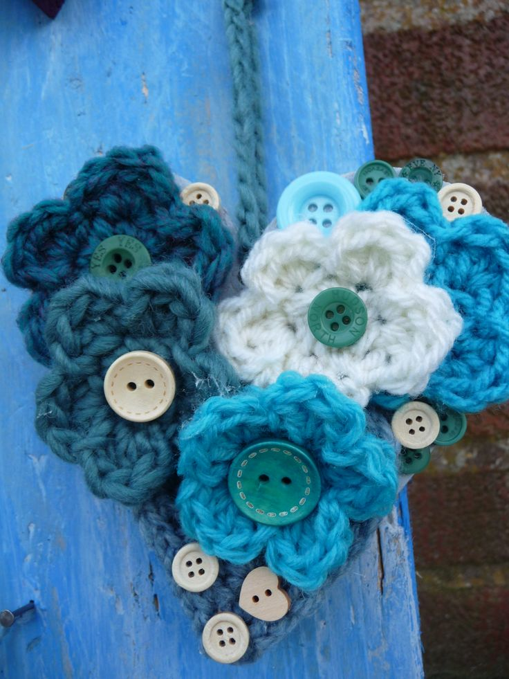 Wooden heart, 12cm x 12 cm,with  teal,duck-egg  & cream flowers and buttons