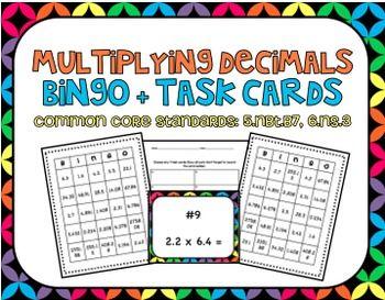Multiplying Decimals Bingo and Task Cards, CCS: 5.NBT.B7, 6.NS.3