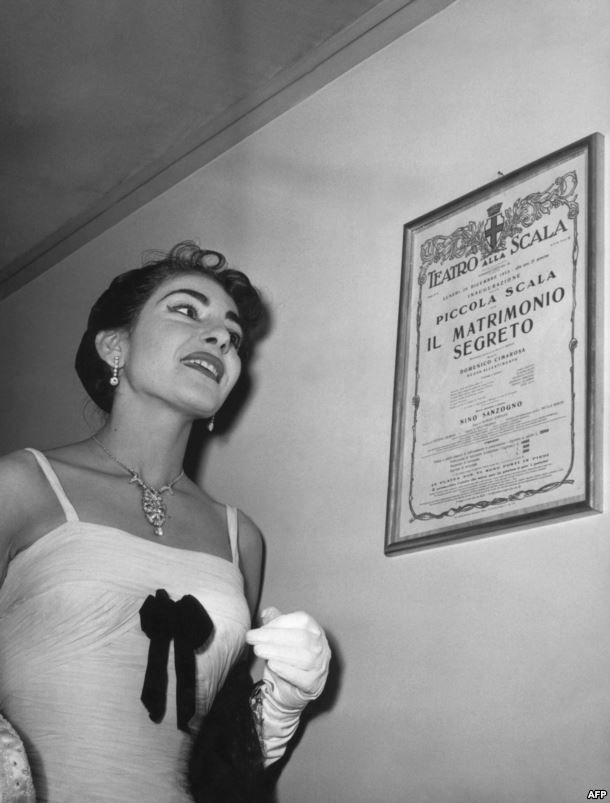 """Maria Callas at the inauguration of the so-called """"Little Scala"""" or """"Piccola Scala"""" hall of Milan's La Scala opera house on December 26, 1955"""