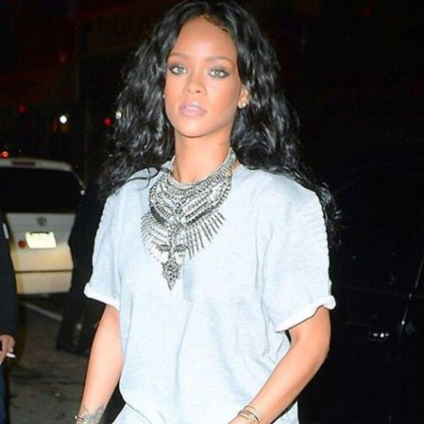 Get Rihanna's look for less! Shop our Boho Glam Statement Necklace at Jewel Cult!