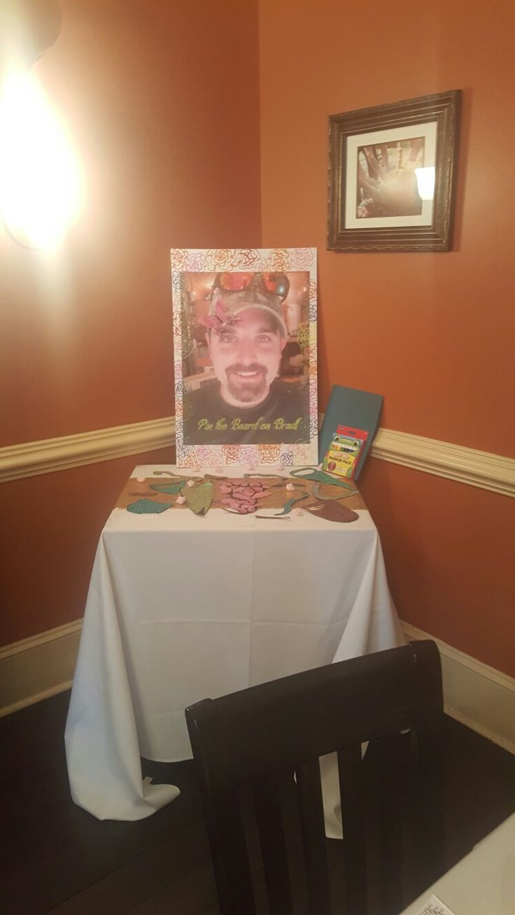 Pin the beard bridal shower game! Make glittery, flowery beards and mustaches!