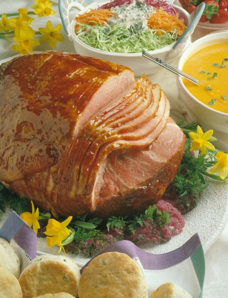 A spiral-sliced ham is an easy and elegant start to a holiday meal. Serve with Dilled Peas and Potatoes Vinaigrette, Spinach-Strawberries Sa...