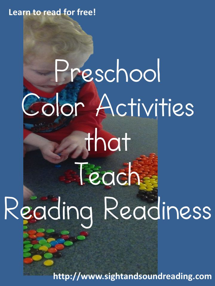 Preschool Color Activities to help teach reading readiness.  More info can be found at http://www.sightandsoundreading.com.  Great for preschool, homeschool, special needs, teachers, parents, and children!  #education