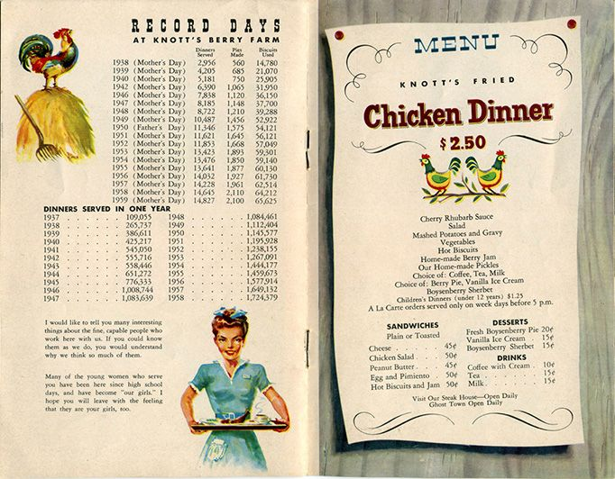I would love a day trip to Knottu0027s Berry Farmu0027s Chicken Dinner - dinner menu