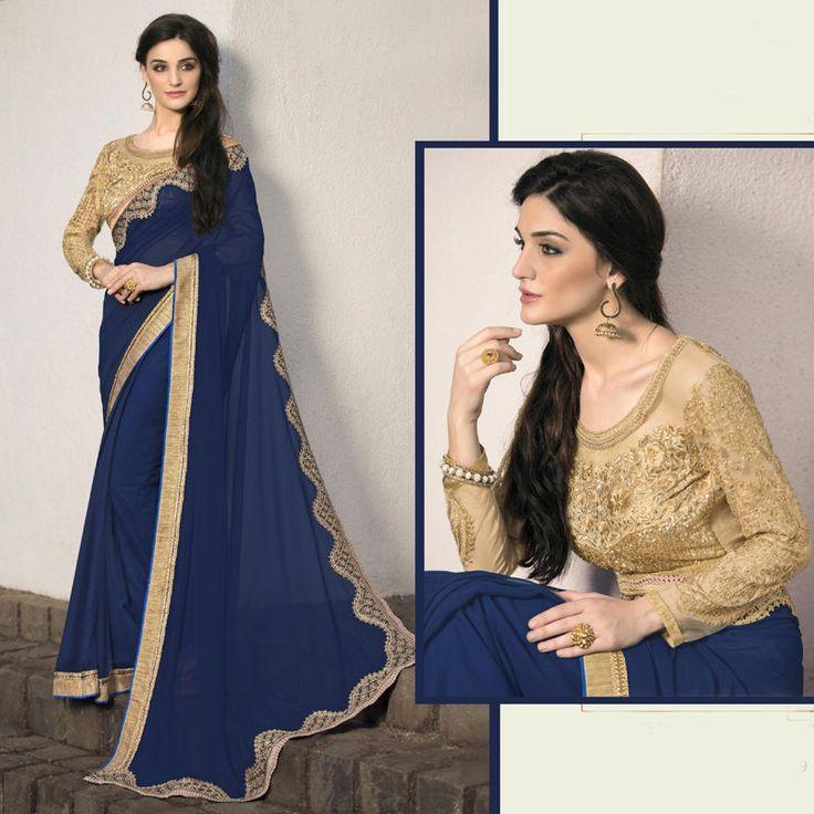 indian embroidery georgette saree sari new wedding bridal party bollywood sari #Handmade #Saree