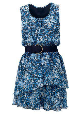 Chiffongklänning med skärp, BODYFLIRT, svart/turkos/vit