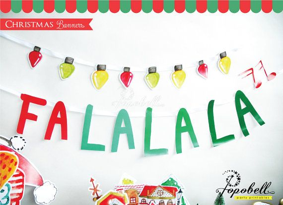 Christmas Banners Printable for Chrismas Decoration. Instant Download DIY Christmas Falalala Banners with colorful bulbs banners. Digital