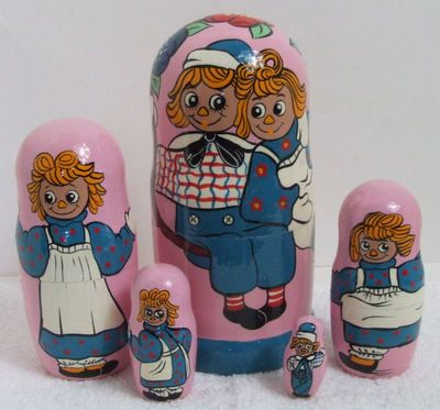 Raggedy Ann and Andy Russian nesting dolls