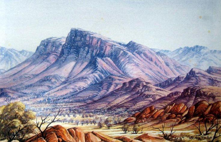 Albert Namatjira, Central Australian Landscape, watercolour, signed, 30.4 x 45.7 cm