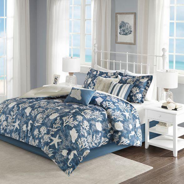 Blue Bedford Cotton Sateen Comforter Set Queen 7pc In 2021 Comforter Sets King Size Comforters Queen Size Comforter Sets Cotton comforter set queen