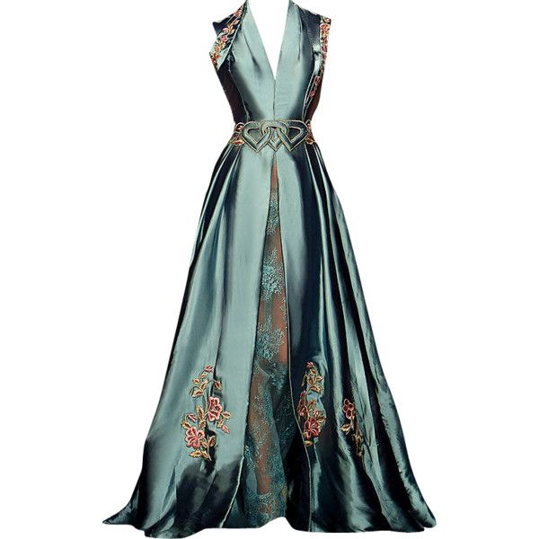 Randa Salamoun - edited by mlleemilee ❤ liked on Polyvore featuring dresses, gowns, long dresses, vestidos, green evening dress, green evening gown, long green dress and green gown