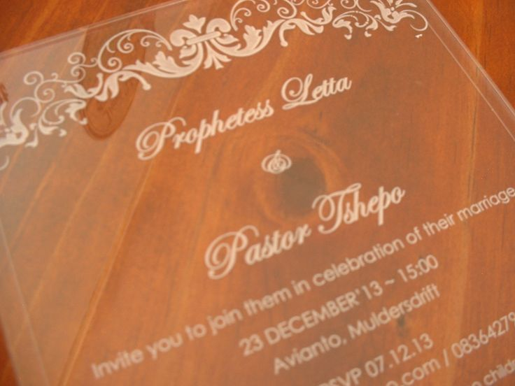 Laser Engraved Wedding Invite on clear Perspex.