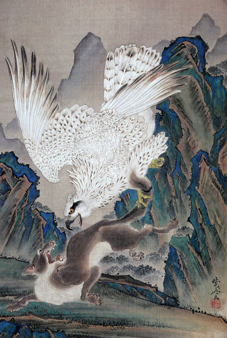 狼を襲う白鷲 (White eagle attacking a wolf) by Kawanabe Kyōsai