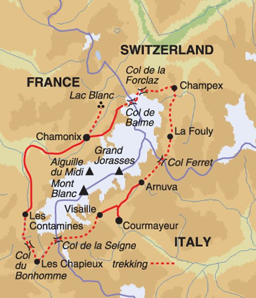 Mont Blanc Circuit classic walking tour, 8 days. Travel like a local