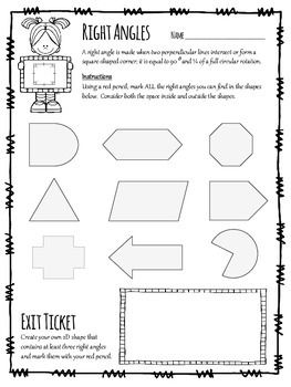 Right Angles Hunt geometry assessment worksheet for grades 2-4.  Includes clear instructions, visual example, exit ticket and answer sheet.