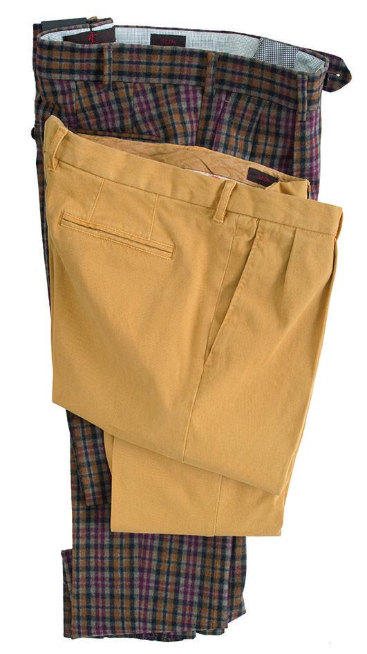 #pantaloni da uomo #trousers  modello #Damier in tela follata stretch modello colore giallo in #gabardina #menswear #fashion collezione #GioZubon #Lubiam #Al2014 Luigi Bianchi Mantova
